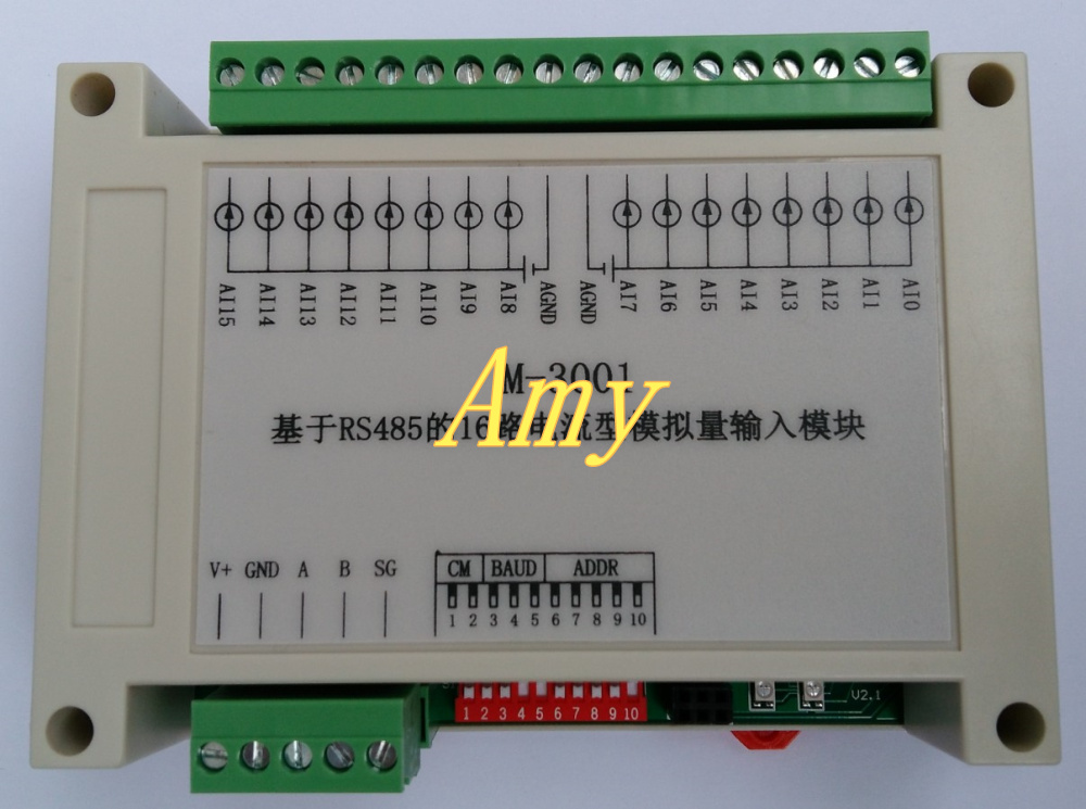 RS485 Current Acquisition Module Modbus RTU Communication Card 16 Analog Input
