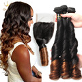 8a Aunty Funmi Hair Curls 3 bundles Brazilian Spring Curly Virgin Hair with Closure Ombre Two Tone Color 1b/4# Human Hair Weave