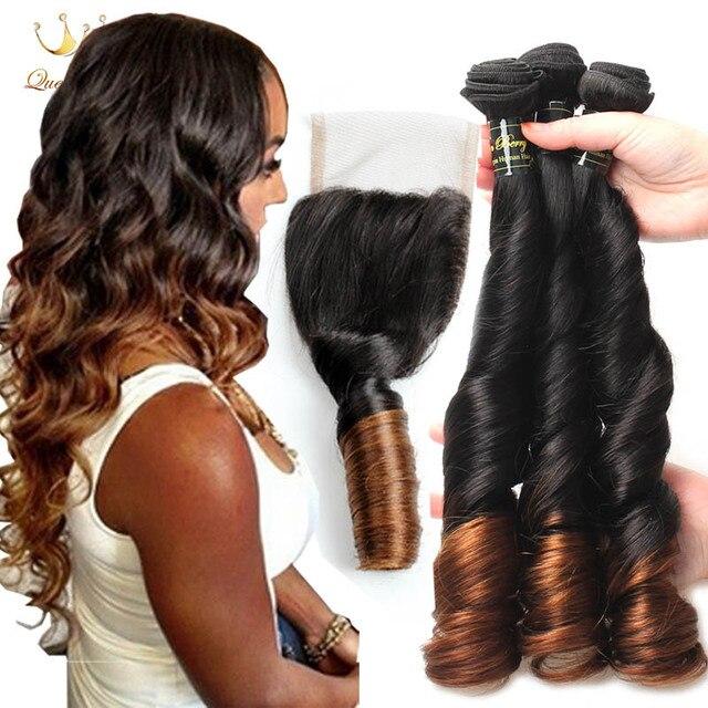 8a cabelo Tia Funmi Cachos de Cabelo 3 pacotes Brasileiro Virgem Cacheados Primavera cabelo com Fechamento Ombre Two Tone Cor 1b/4 # Cabelo Humano Trama