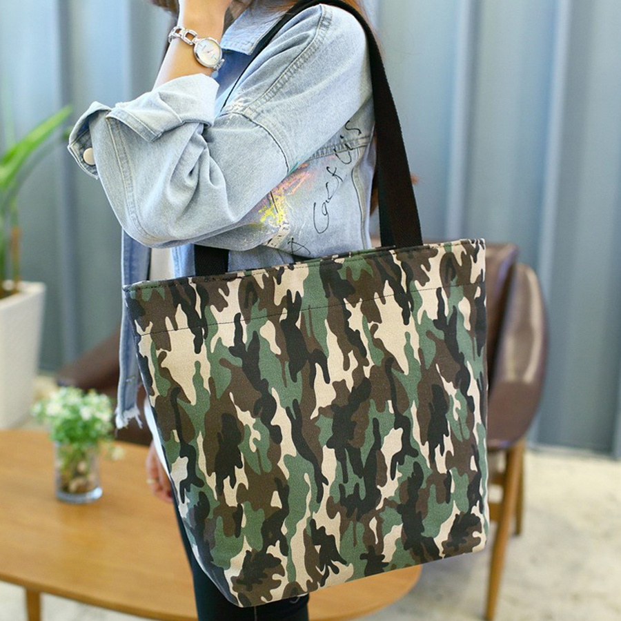 Fashion Tote Canvas Bag Women Camouflage Handbags Ladies Large Capacity Shoulder Bag Students Shopping Bags Bolsa Feminina aosbos fashion portable insulated canvas lunch bag thermal food picnic lunch bags for women kids men cooler lunch box bag tote