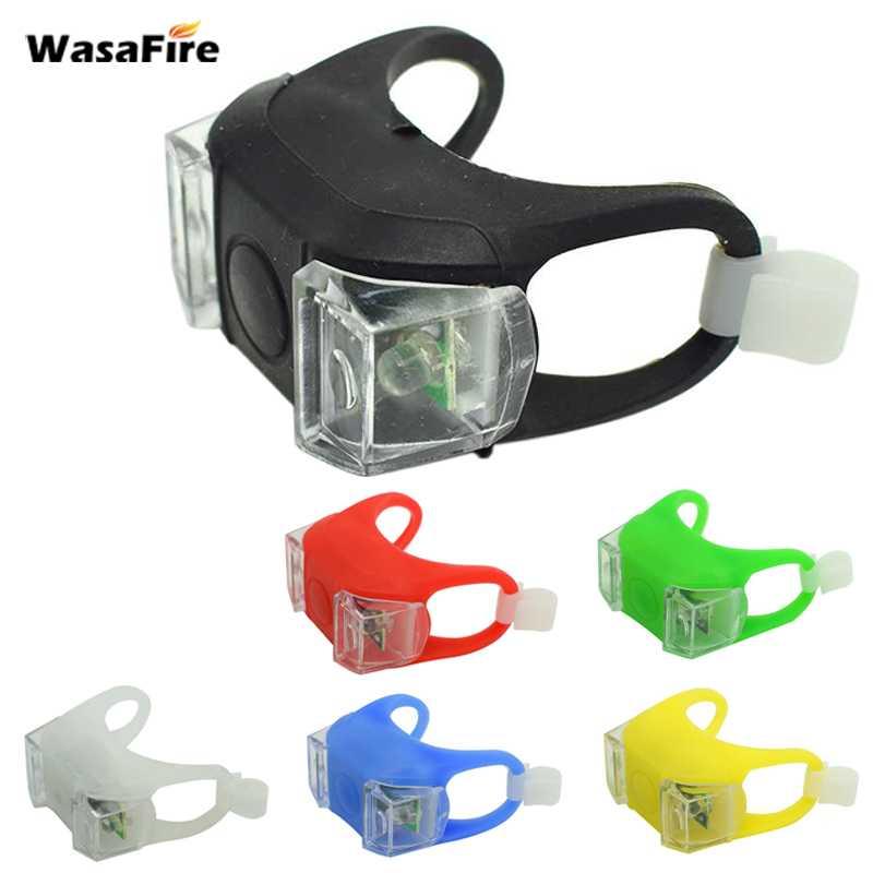 WasaFire Silicone Bike Bicycle Lights Waterproof Cycling Front Rear Rail Light Handlebar LED Flash Safety Warning Lamps Battery