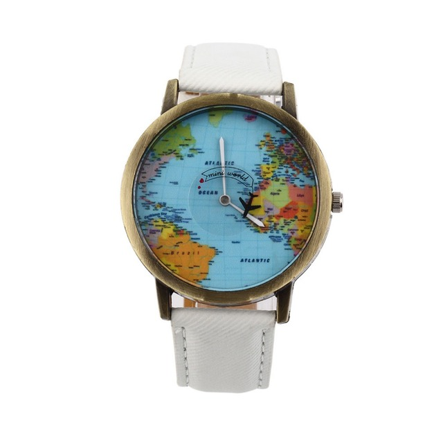 Vintage women dress watchesfashion global travel by plane map denim vintage women dress watchesfashion global travel by plane map denim fabric band watch women gumiabroncs Images