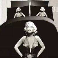 ملكة حجم 3d مثير مارلين مونرو الفراش دوفيت تغطية مجموعة ورقة السرير سادات 4 قطع الفراش مجموعة