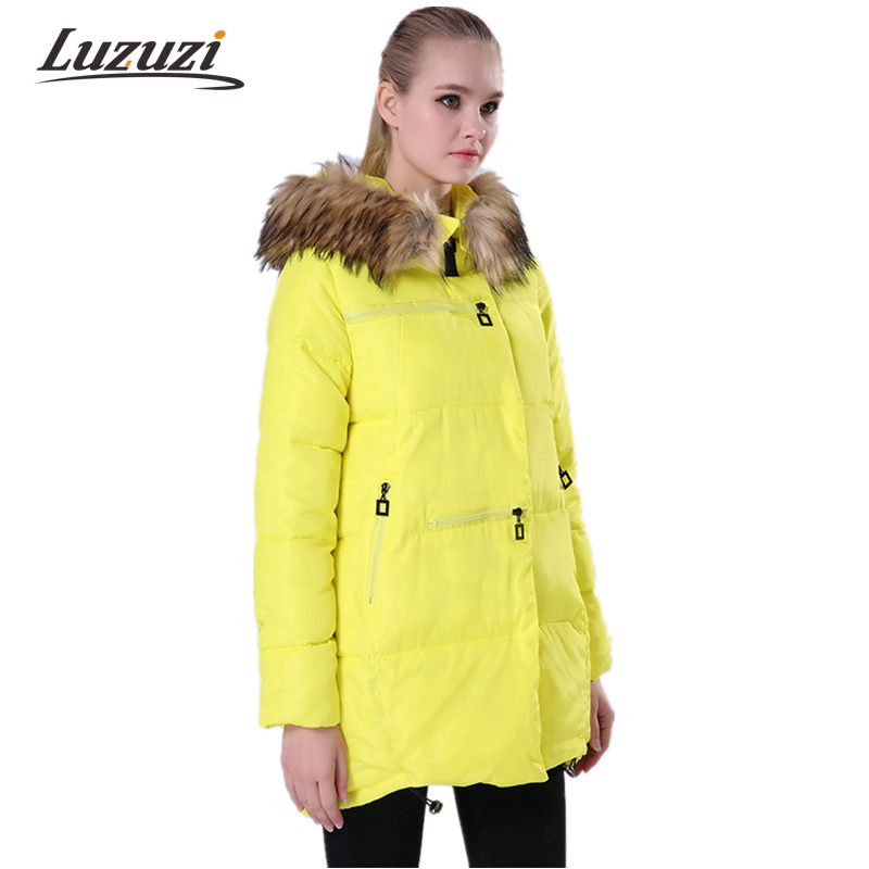 2017 Winter Jacket coat Women Cotton Padded Hooded Coats Female Parka Faux Fur Collar Plus Size