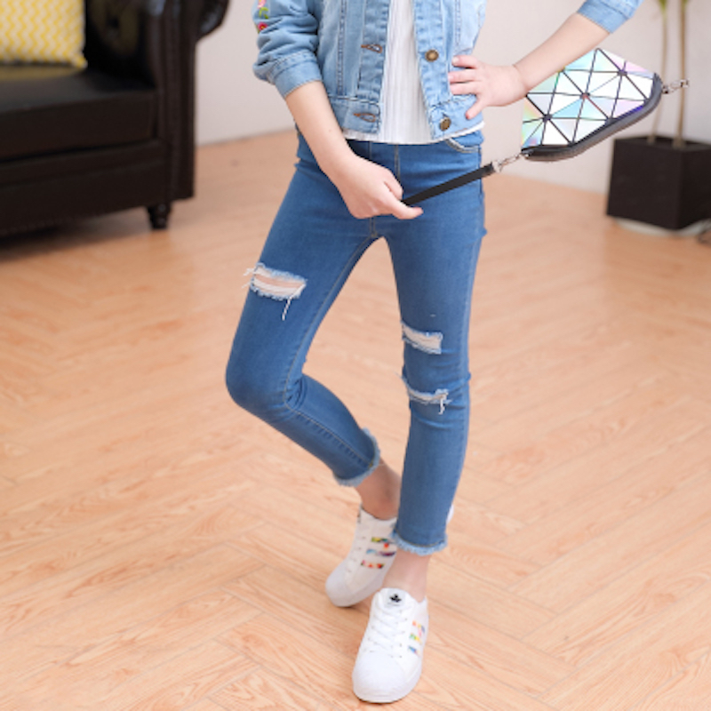 Girl Skinny Ripped Jeans Teenage Girl Denim Pants Leggings Cotton Elasticity Jeans for Big Girls Pants Casual Trousers 3y-15y dark blue middle waist skinny shredded ripped jeans with four pockets