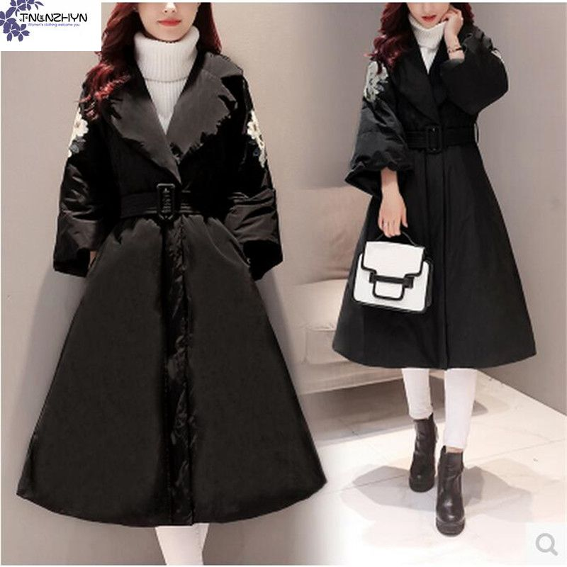 ФОТО TNLNZHYN Young female clothes 2017 New Winter Women Coat Large size Long Cotton Jacket Coat Thick Warm fashion Winter Coat AK300