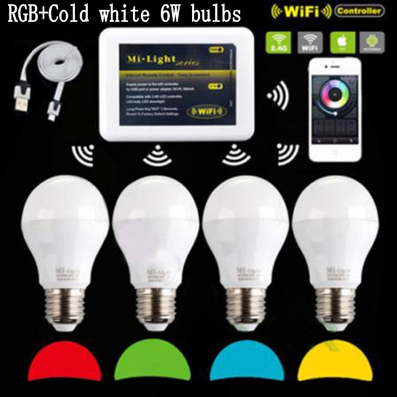 Mi Light iOS Android 110V 220V E27 6W RGBW (RGB+ cold white ) 2.4G Wifi Smart Light LED Bulb Lamp Dimmable wifi controller ibox original xiaomi mi night yeelight smart led lamp wifi remote control rgb light e27 colorful smart home illumination led bulb