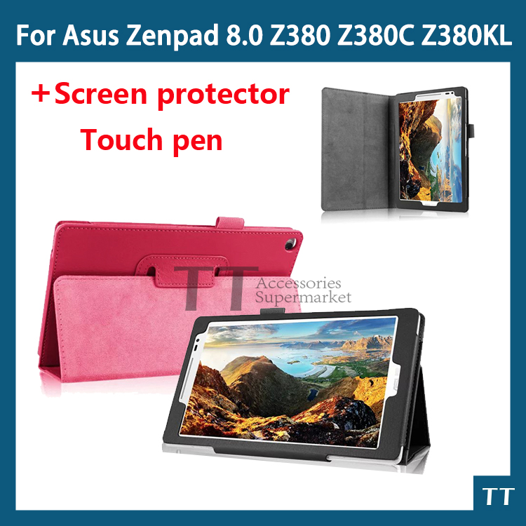 PU leather case cover For Asus Zenpad 8.0 P024 Z380 Z380C Z380KL 8 inch tablet case+free screen protectors+touch pen цена 2017