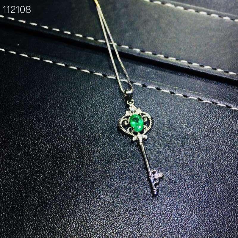 Belle évidement clé couronne S925 argent naturel vert émeraude gemme anneau pendentif naturel pierre gemme bijoux ensemble femme fête cadeau - 4