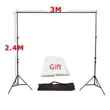 Haute Qualité 3 M x 2.4 M Photo Studio En Aluminium Photographie Milieux Toile de Fond Support Système Stands avec toile de Fond Libre x 1