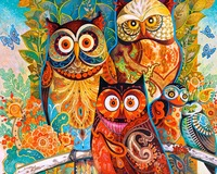 Frameless Oil Painting By Numbers Paint By Number For Home Decor Canvas Painting 4050 Owl Family