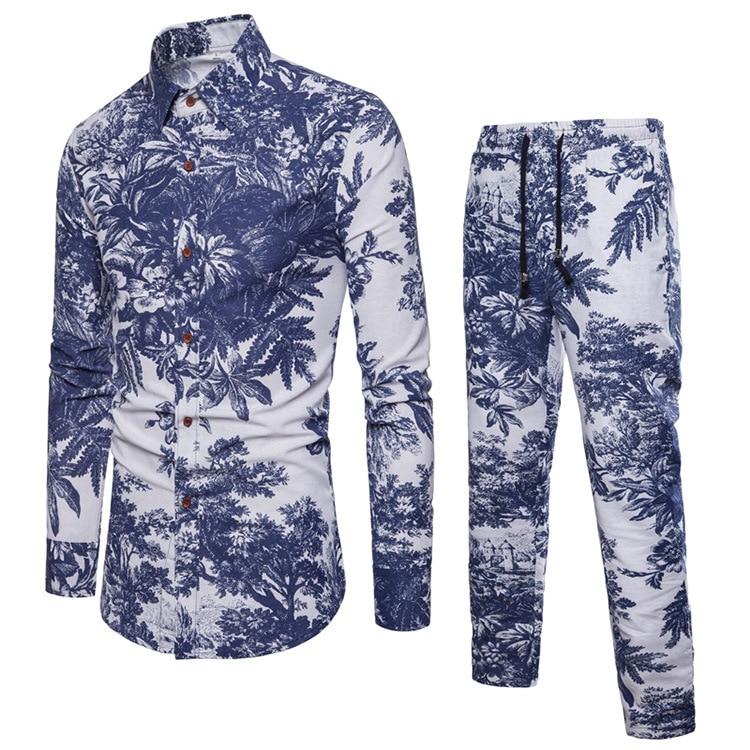 2019 Hot Selling Spring Autumn Wear Men's Set Shirt+Pants Casual Shirts Suit Cotton Linen Full Length 3d Print Plus Size