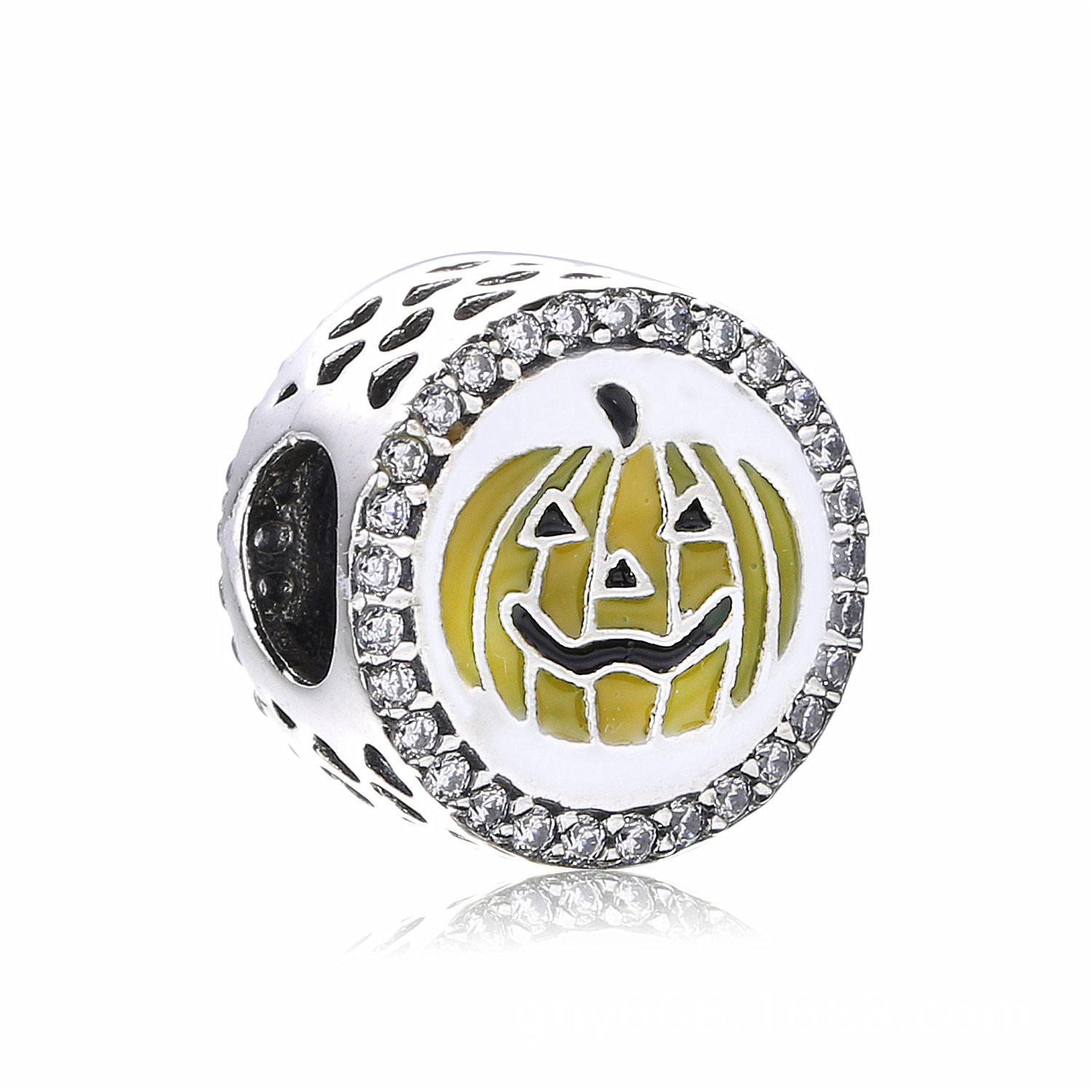 Genuine 925 Sterling Silver Pumpkin Charms Beads With Cz And Enamel Fits Original Pandora Charm Bracelet Diy Jewelry Making