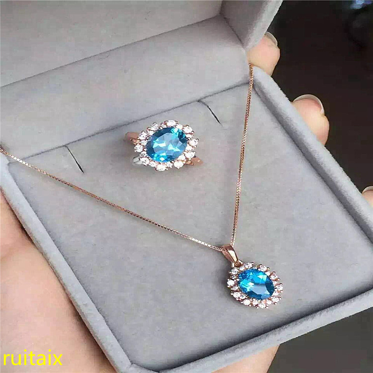 KJJEAXCMY boutique jewels 925 sterling silver inlaid with natural blue topaz jewelry 3 piece pendant + necklace + ring. cvbnKJJEAXCMY boutique jewels 925 sterling silver inlaid with natural blue topaz jewelry 3 piece pendant + necklace + ring. cvbn