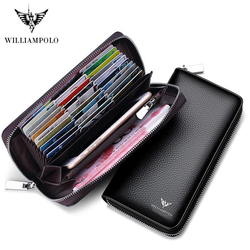 Hommes crédit porte-carte en cuir de vache longue pochette sacs WILLIAMPOLO téléphone carte de visite chéquier organisateur portefeuille mode fermeture éclair