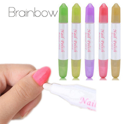 Brainbow 5 Nail Art Stylo Correcteur Supprimer Erreur + 15 pc Sec Conseils verser Le Gel UV Vernis À Ongles Remover liquide Manucure Cleaner effacer
