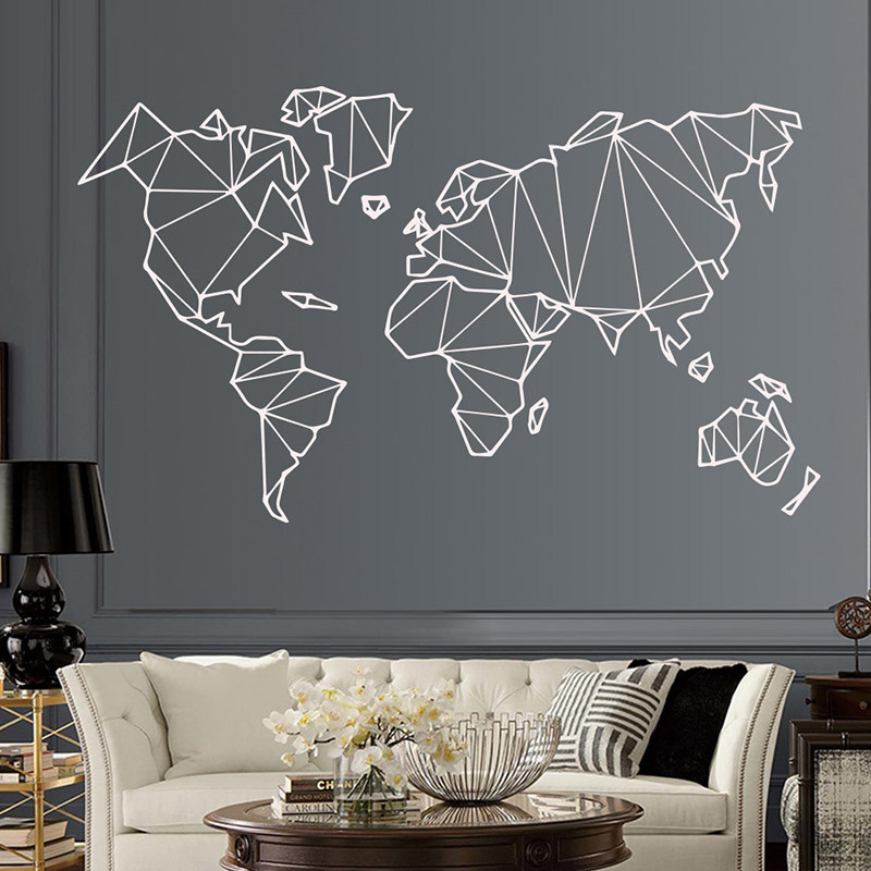Home & Garden Frank Living Room New Geometric World Map Wall Sticker Vinyl Art Design Removable Poster Mural Bedroom Accessories Decor Decals Ly1343 Big Clearance Sale