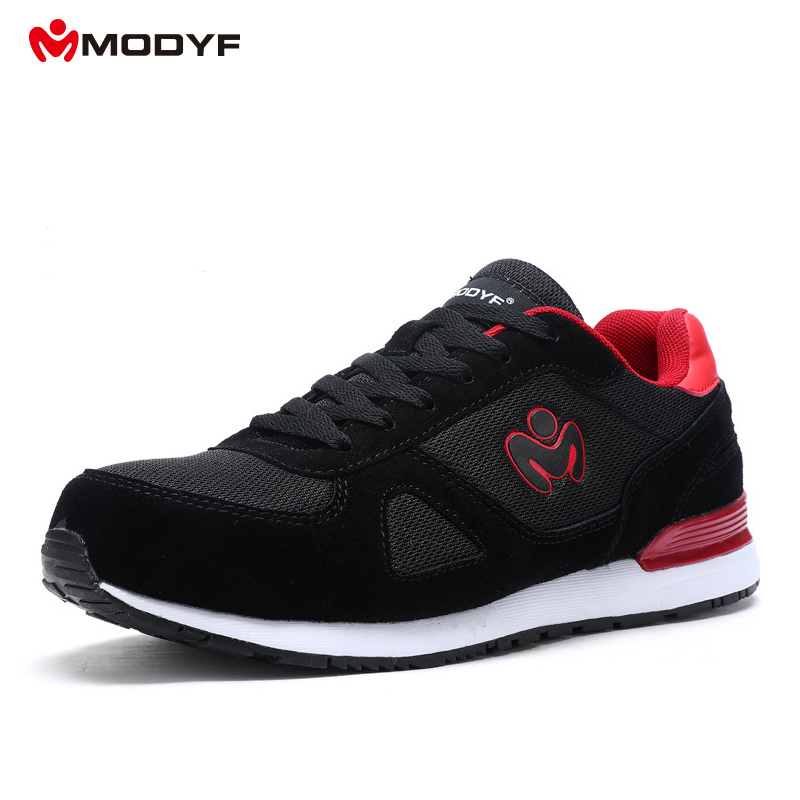 Modyf Mens Fashion Safety Shoes With Steel Toe Cap Black Work boots Construction Working Shoes