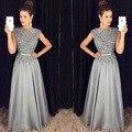 Vestido De Fiesta de La Vendimia Vestido de Noche Largo 2016 Escote Redondo vestidos de Baile Con Apliques Sash Vestidos de Fiesta Formal ED4
