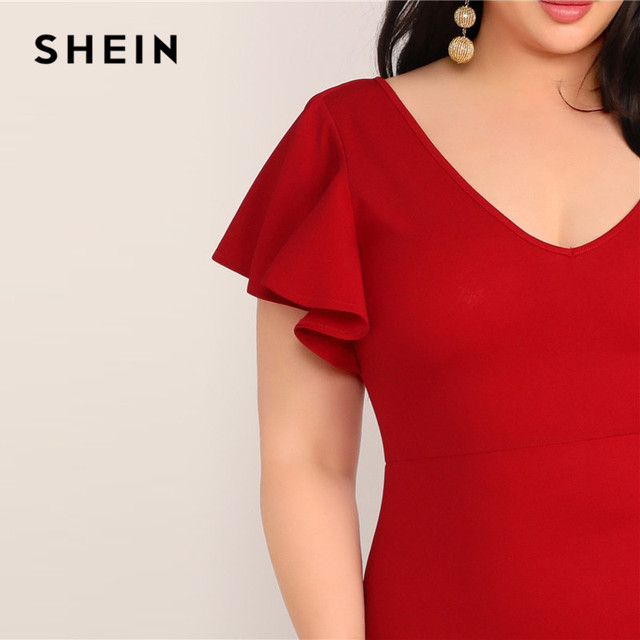 SHEIN Plus Size Red Zip Back Ruffle Trim Bodycon Dress 2019 Women Summer Elegant Butterfly Sleeve Slim Pencil V neck Plus Dress 4