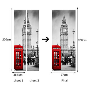 Image 2 - British London Red Phone Booth Sports Car Big Ben Classic Door Sticker DIY Mural Home Decor Poster PVC Waterproof Sticker