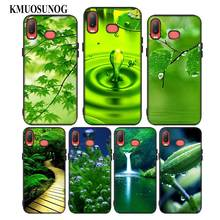 For Samsung A6S A8S A6 A7 A8 A9 A5 A3 Star Plus 2018 2017 2016 Black Silicon Phone Case Green natural cute plant Style