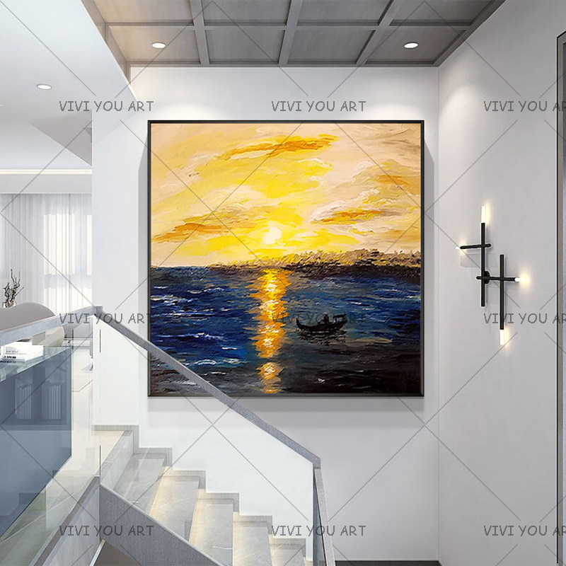 2019 New 100% Handpainted Big Size Modern Wall Art Picture Abstract Sailing <font><b>Boat</b></font> Thick <font><b>Knife</b></font> Seascape Oil Painting On Canvas image