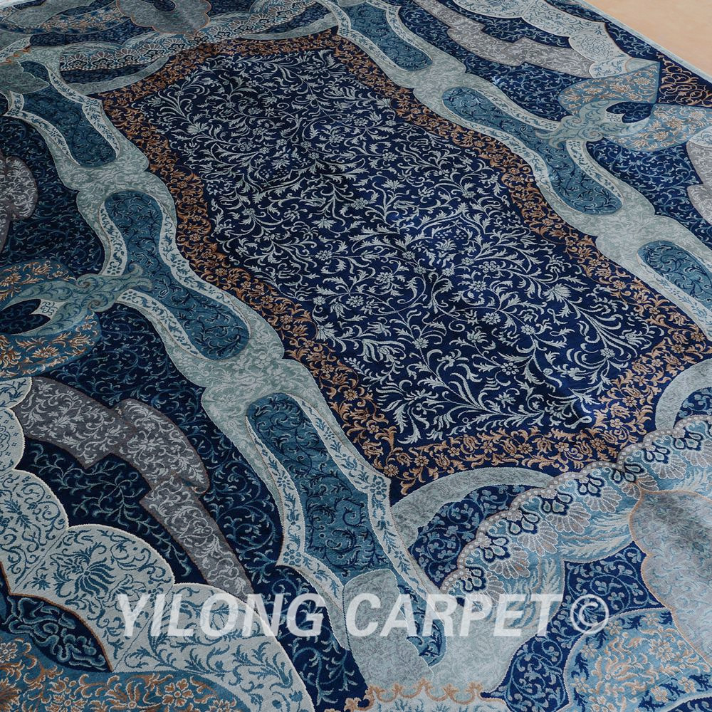 Yilong 6'x9 Turki Pola Rajutan Karpet Persia Sutra Unik Pola Biru - Tekstil rumah - Foto 3