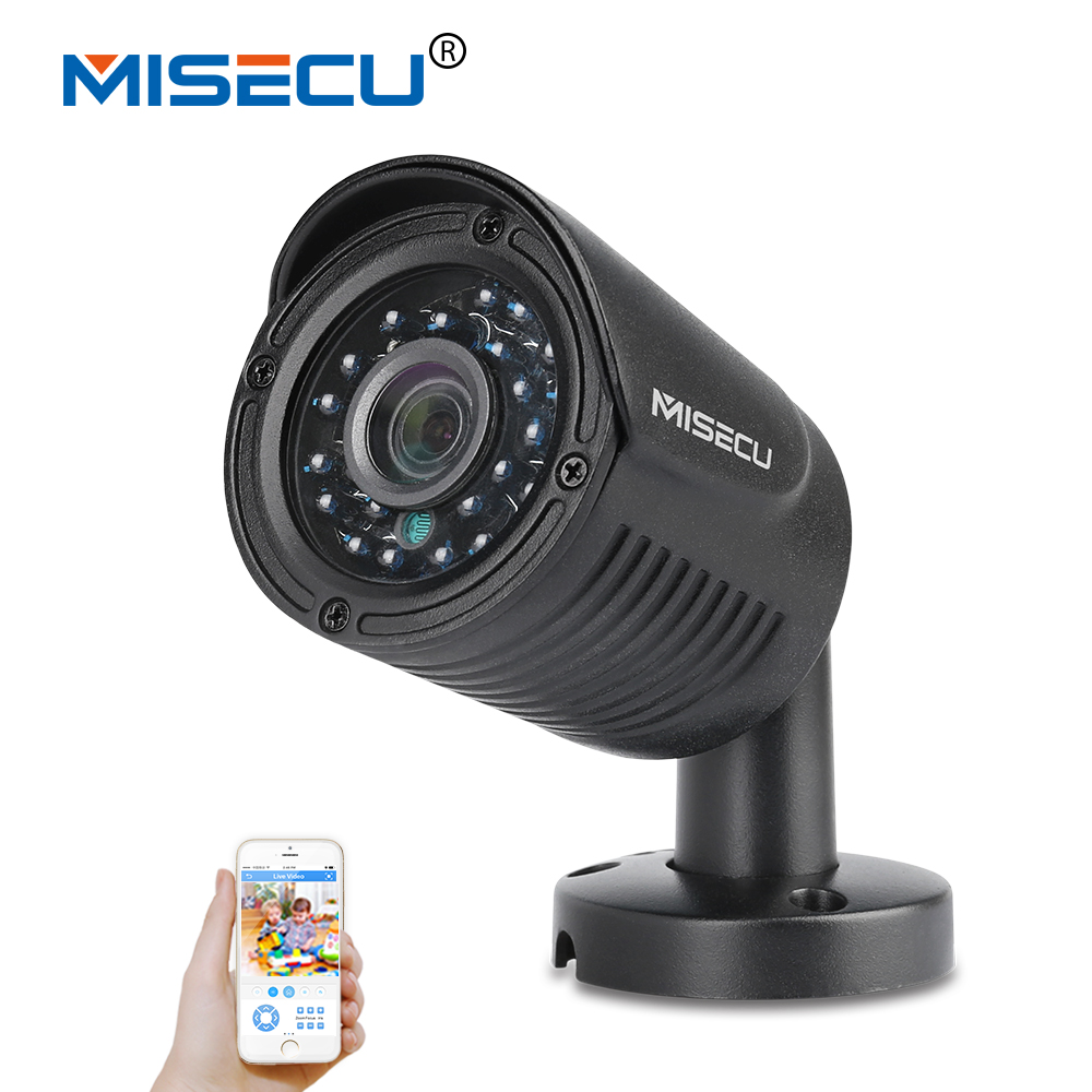 MISECU H.264 1080P 960P 720P Metal Onvif P2P Motion Detection RTSP FTP 12V or 48V POE Outdoor Night Vision security Camera Black