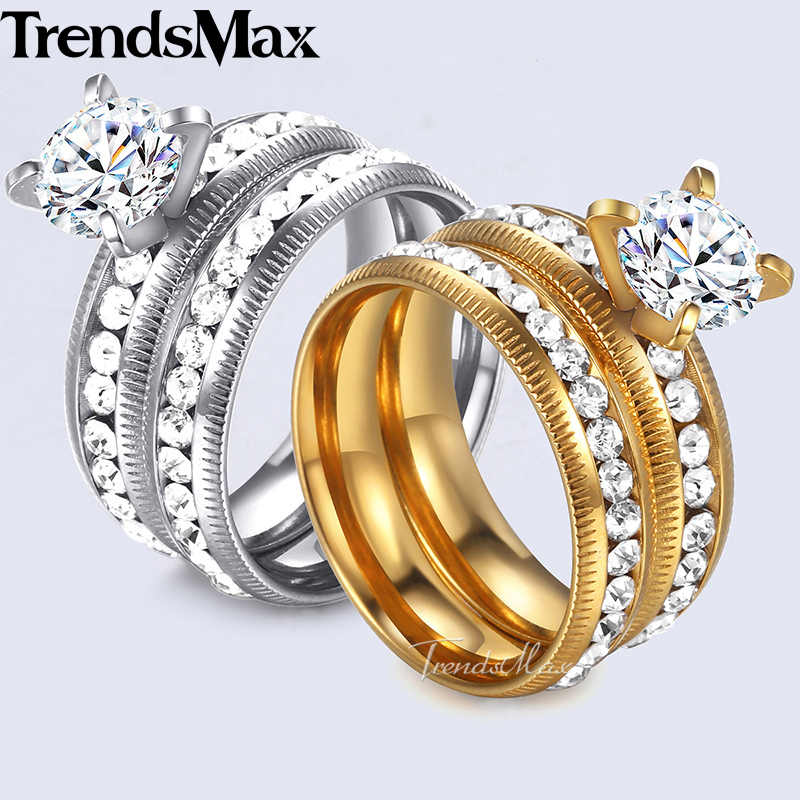 d90bac6a33 Trendsmax Mens Womens Wedding Ring Set Gold Silver Tone Stainless Steel CZ  Stone Couple Promise Engagement