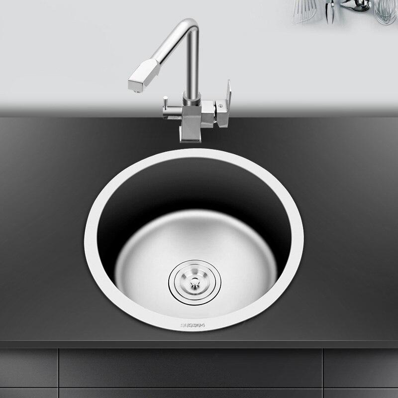 Évier de cuisine rond en acier inoxydable évier simple bol ensemble bol piscine ensemble eau avec balcon LU4275