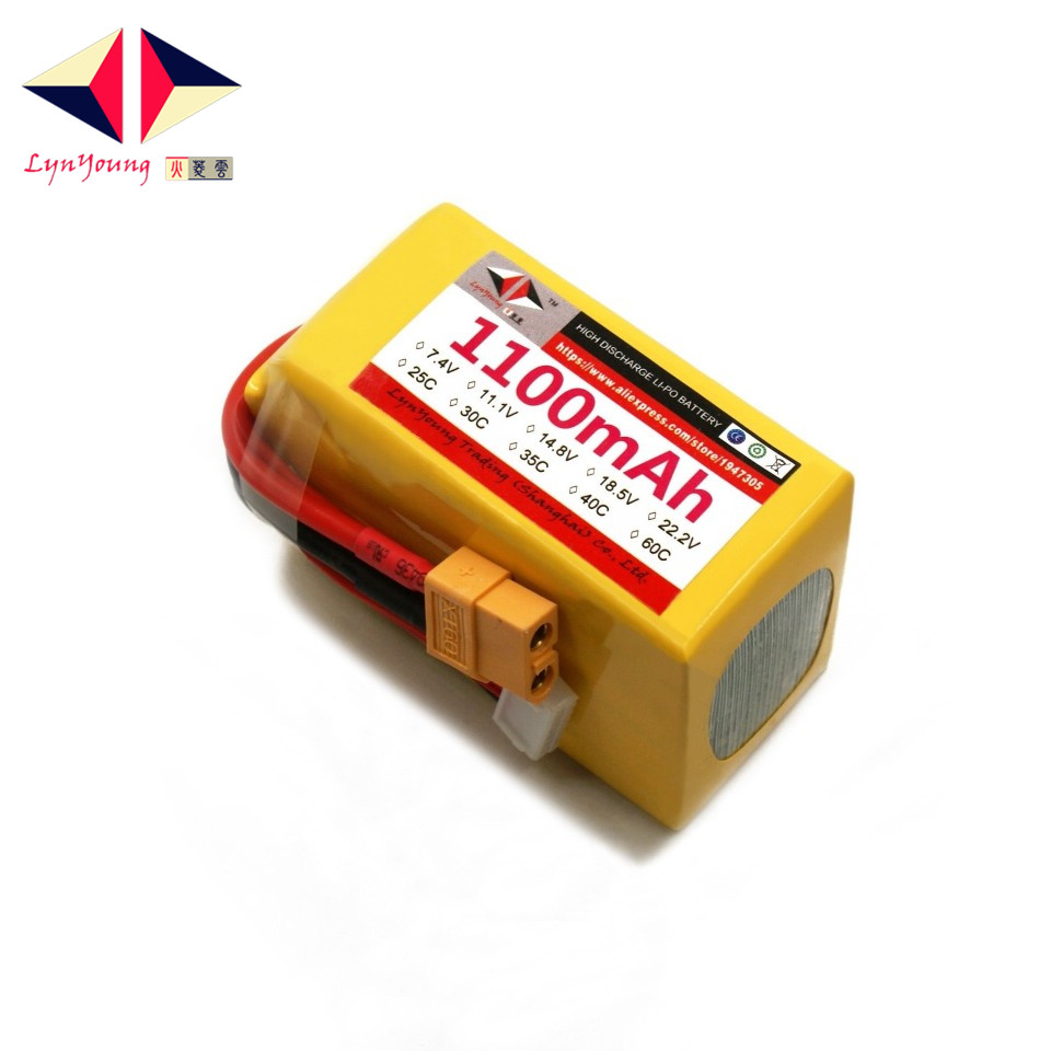 LYNYOUNG 6S lipo battery 22.2v 1100mAh 35C max 70c For airplane helicopter car quadcopter truck image