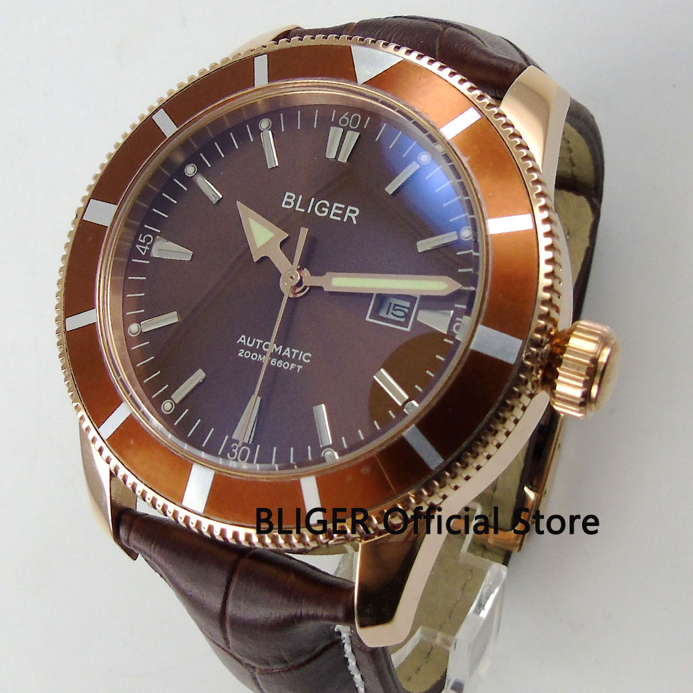 Casual BLIGER 46mm Brown Dial Coffee Rotating Bezel Luminous Pointer Rose Gold Case Miyota Automatic Movement Mens Watch B94Casual BLIGER 46mm Brown Dial Coffee Rotating Bezel Luminous Pointer Rose Gold Case Miyota Automatic Movement Mens Watch B94