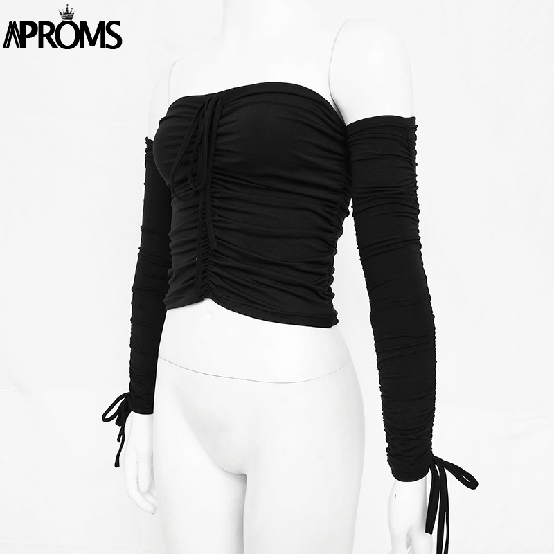Aproms Coolest Off Shoulder Crop Tops Casual Ruched Pleated White T-shirt Women Short Sleeve Cropped Tshirt for Women Clothing 13