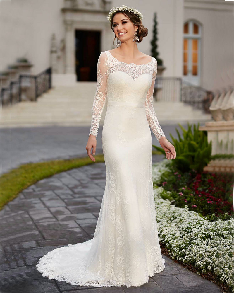 Popular simple long sleeve wedding dresses buy cheap for Simple long sleeve wedding dresses
