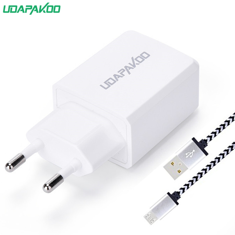 5V 2.4A Double port Charger + Micro USB Charger Cable For Xiaomi Redmi Note 5 4 4X Samsung S7 S6