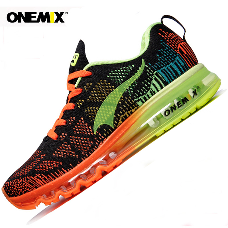 Onemix Men's Running Shoes Music Rhythm Sneakers Men Breathable Mesh Outdoor Sport Shoes Men Light Male Shoe Size EU 39-47