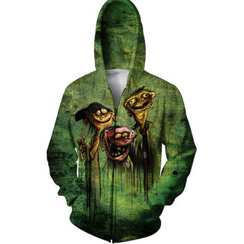 Magic Men Hoodie Psychedelic Pickles And Chuckie Finster 3D Sweatshirts Male Outfits Cool Fashion Zipper Coats Hooded Tops cabeza de toro de colores