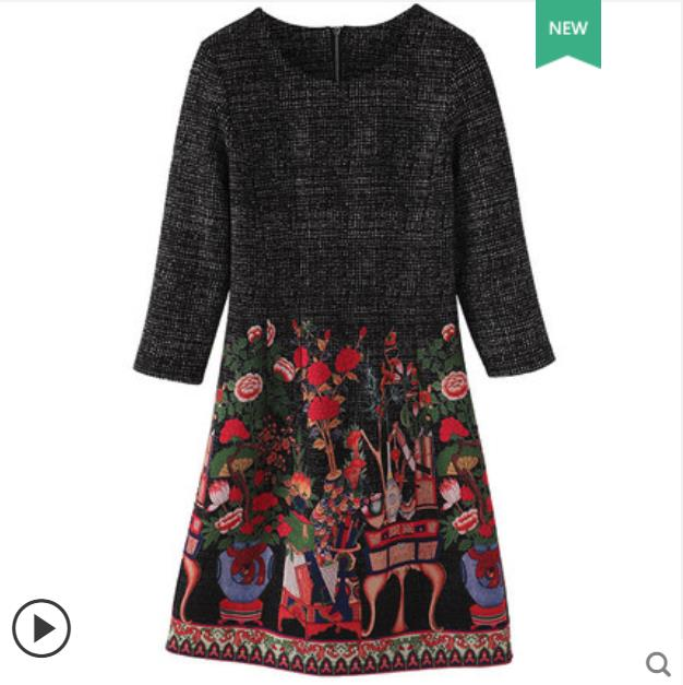 Grande taille robe de femmes 2018 automne hiver nouveau micro graisse mm Yang qi cacher viande couvrant ventre et la taille imprimer robe