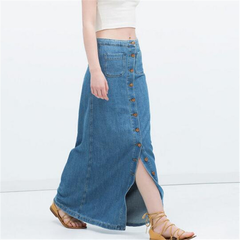 Maxi blue jean skirt – Fashion clothes in USA photo blog