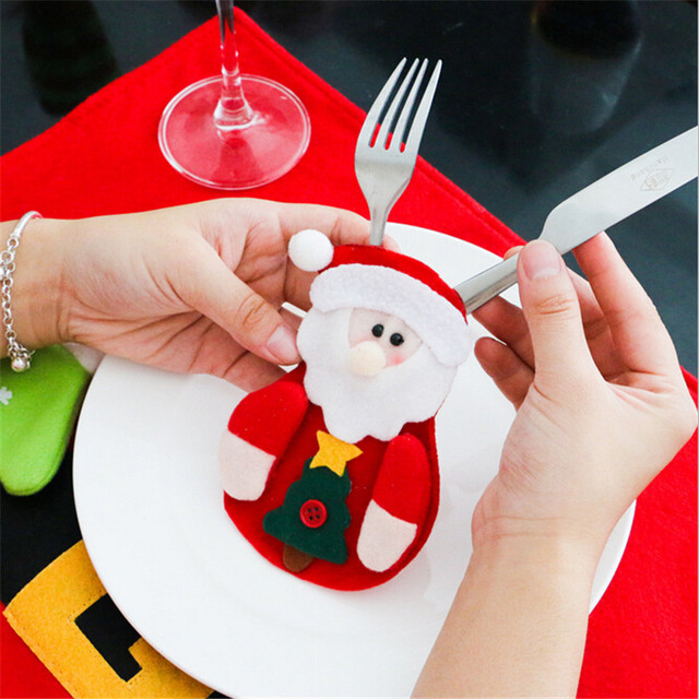 6Pcs 2018 Christmas Decorations For Home Table Dinner Decor Cute Cutlery Suit Knifes Folks Bag Holder Pockets Xmas New Year