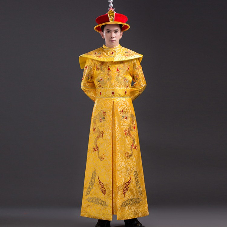 2018 summer Dragon Robe +hat Chinese Emperor Costume for Stage Men Chinese Traditional Prince Dynasty Clothing Ancient clothes black and coffee 2 colors hair tiara ancient chinese emperor or prince costume hair crown piece cosplay use for kids little boy