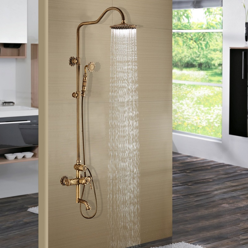 Luxury Antique Brass Carving Rainfall Shower Sets Faucet Mixer Tap With Tub Faucet Brass Bath Out Wall Mounted Mixer Taps shower faucet wall mounted antique brass bath tap swivel tub filler ceramic style lift sliding bar with soap dish mixer hj 67040