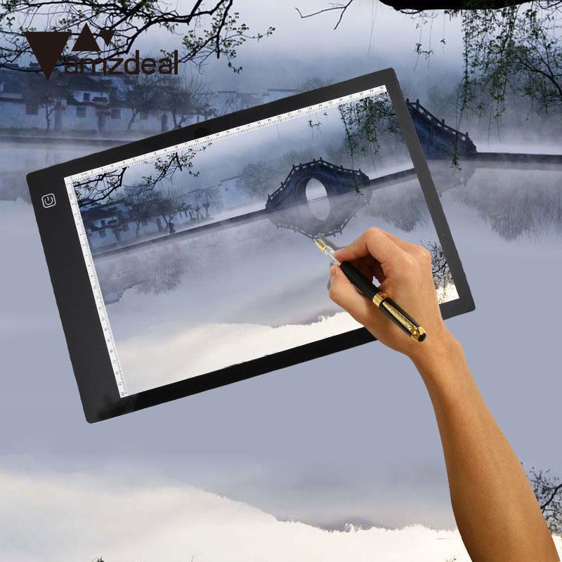 AMZDEAL A4 LED Light Pad Stencil Board Tablet Tracing Drawing Board Table Tattoo Display Box Tracing Table 3 Gear Dimming sh120pmb4sv0 3 led ua46d6000 d6400 iogic board