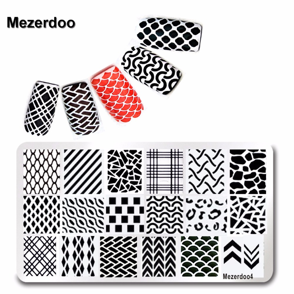 1pc Line Fish Scale Design Küünte Art Stamping Template Illusion Stamping Plate Võred Stamp plaat Nail Stamping Tools Mezerdoo4