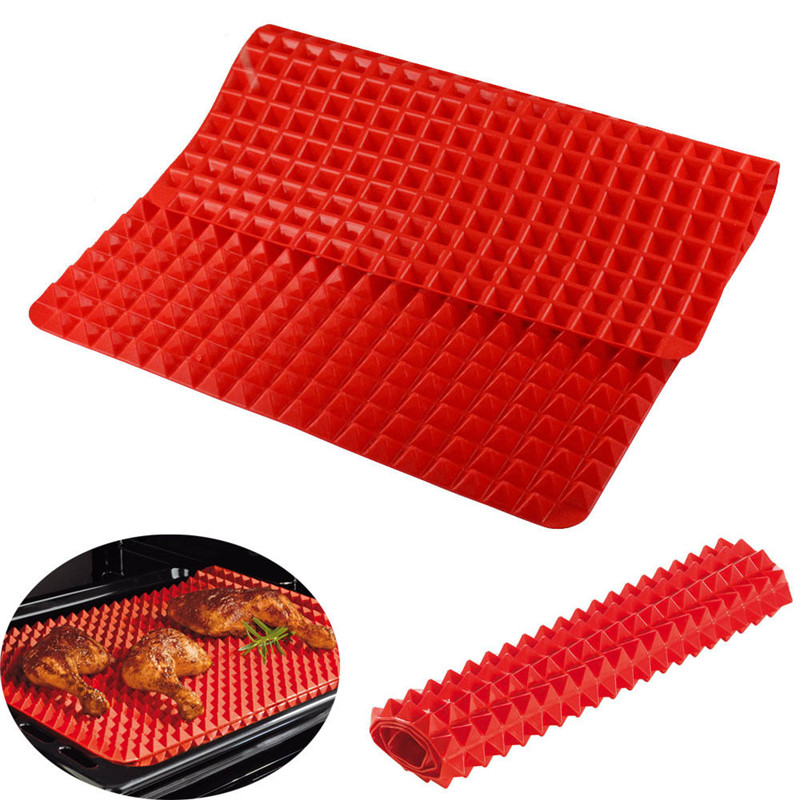 1pc Pyramid Pan Non Stick Silicone Baking Mat Fat Reducing Bbq Grill Cooking Microwave Oven Tray Sheets Kitchen Tools In Pastry