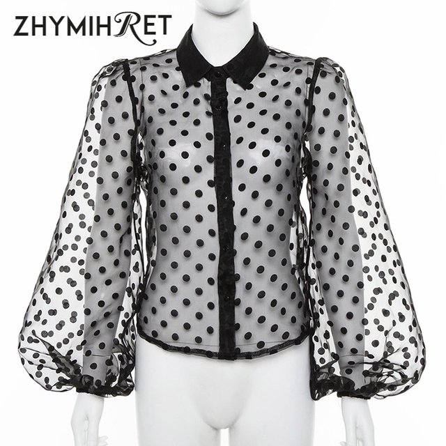 ZHYMIHRET Casual Polka Dot Mesh Blouse Shirt Women 2021 Long Lantern Sleeve Tops And Blouses See Through Blusas Mujer De Moda 6