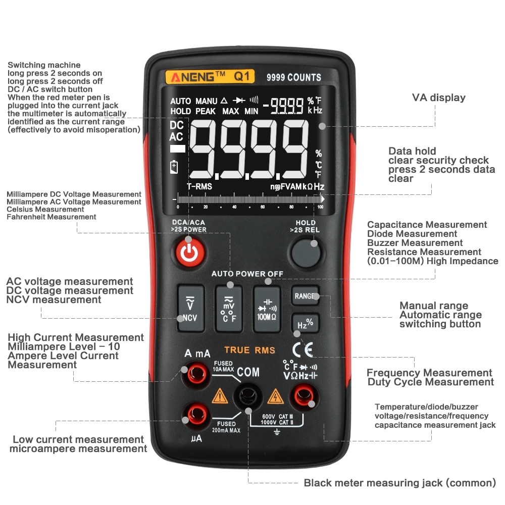 Multifunctional Digital Display Multimeter + Measuring Line Tool Kit + Portable Storage Bag Physical Measuring Tool Multimeter