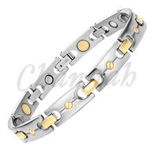 Channah 2017 titanium pulsera magnética oro plata 2-tone unisex salud iones negativos envío libre de la joyería del brazalete del encanto