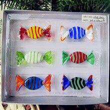 6pcs custom Antique Art Hand Blown Munuola stripe Glass Sweets Sculpture wedding candy ornaments  Christmas Tree Pendant gifts